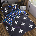 Quilt Doona Duvet Cover Set Pillow Case Single/Double/Queen Size Bed Blue Cross