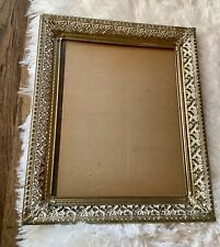 VTg brass FILIGREE WHITE WASHED GOLD METAL 8x10 wall shelf PICTURE FRAME
