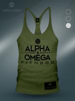 AAO Fitness Khaki Green/ Black V3 Bodybuilding Gym Muscle Vest - Mens S M L XL