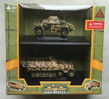21st CENTURY TOYS 1:32 IRON HORSES HANOMAG & PANZERSPAHWAGEN- TWO MODEL SET VGC