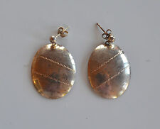 large Vintage signed Italy silver 925 handmade oval dangle pierced earrings