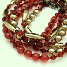 ALI KHAN NEW YORK Necklace 3 Multi Strands Red Lucite Acrylic Beads Faux Crystal