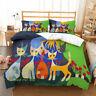 Linen Queen/Single/Double/King Size Bed Quilt Doona Duvet Cover Set Cartoon Cat