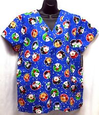 2-Nurse Vet Tech Dental Scrub V-neck Top Santa/Snow Men/Reindeers Size XL