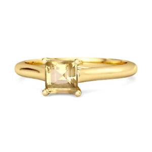 0.75 Cts Citrine Gemstone 9K Yellow Gold Promise Ring US-5