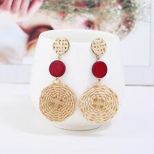 Fashion Boho Long Earrings Handmade Rattan Weave Women Bohemia Jewelry Red