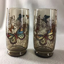 """Anchor Hocking Vintage Mod Retro Smokey Brown *BUTTERFLY* 5/"""" Tall Drinking Glass"""