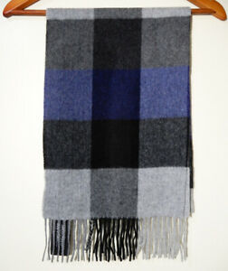 MURANO Men's 100% CASHMERE Fringe MUFFLER SCARF Black/Grey/Blue Colorblock $110