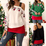 Plus Size Womens Tops One Shoulder Long Sleeve Baggy Xmas Print Blouse Shirt Tee