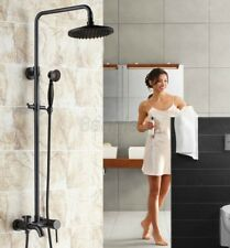 Black Oil Rubbed Brass Shower Faucet Tub Mixer Tap 8-inch Shower Head 8rs341