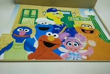123 Sesame Street Wood Puzzles Box in wood box 3 compartments for storage.