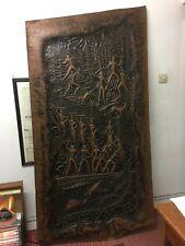 More details for huge antique hammered copper native hunting scene wall art