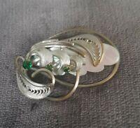 Vintage Brooch silvertone Filigree Green Stones mother of pearl