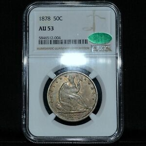 1878-P SEATED LIBERTY HALF DOLLAR ✪ NGC AU-53 CAC ✪ 50C SILVER ABOUT ◢TRUSTED◣