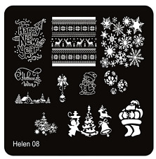 Stamping Schablone Schrift Fullcover Weihnachten Schneeflocken  Muster HELEN 08