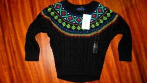 NWT Ralph Lauren Fair Isle Cable Knit Sweater Toddler 2T Black Rare Limited