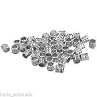 HS 80 Antiksilber Metall Spacer Perlen Röhrchen 6x6mm