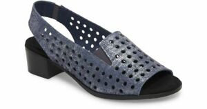 NEW MUNRO MICKEE Slingback Sandal, Blue Perforated Suede, Women Size 10 W,  $189
