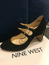 Nine West Academy Double Strap Mary Jane Suede Dress Pumps, Black, 6.5 Brand New