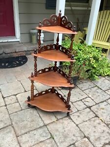 Vintage/antique 4-Tier Solid Wood Standing Corner Shelf Victorian Style Etagere
