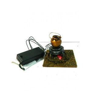 Bivacco con Pentola e Luce a Led Funzionante con Batterie Cm 7x7x6 Presepe