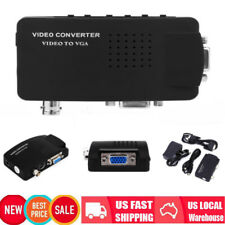 Composite TV BNC S-video to VGA Video Converter Adapter 1920x1080 DVR US Plug