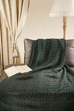 "Triple Cable Style 100% Merino Wool 40"" x 60"" Throw Blanket [Electric Green]"