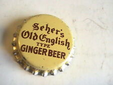 BOTTLE CAP CORK LINED UNUSED SCHER'S OLD ENGLISH TYPE GINGER BEER SAUGATUCK MICH