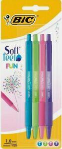 Soft Feel Grip Coloured Writing Pens BIC 4 Pack Ballpoint Ink Medium Drawing Art