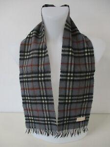 "BURBERRY SCARF, 100% Wool, Grey, Black, Red Nova Check, Very Small, 39"" x 6.5"""