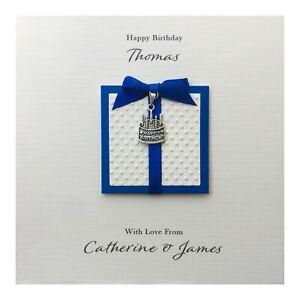 Handmade PERSONALISED Birthday Card - Blue Happy Birthday Cake Charm
