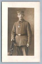 GERMAN WWI SOLDIER w/ IRON CROSS ANTIQUE REAL PHOTO POSTCARD RPPC