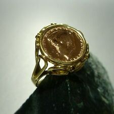 ANILLO CON JOHN para KENNEDY Moneda en 333/8k Rojo Oro Amarillo 56 (17,8 mm Ø )