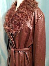 SUSAN GRAVER WOMENS Brown Vegan Leather Coat Faux Fur Collar Size XL Extra Large