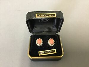 Pink Coral and Diamonds Gold Post Earrings