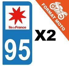 2 AUTOCOLLANTS PLAQUE IMMATRICULATION MOTO DEPT 95 REGION Île de France
