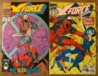X-Force 2 & 11 (Marvel 1991) 1st Domino~2nd Deadpool Appearance~Lot of 2~Liefeld