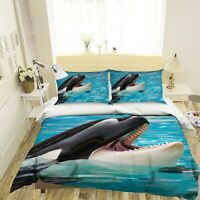 3D Ocean Pavilion Killer Whale KEP077 Bed Pillowcases Quilt Duvet Cover Kay