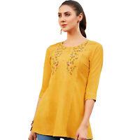 Women Fashion Indian Short Embroidered Yellow Rayon Kurti Tunic Kurta Top