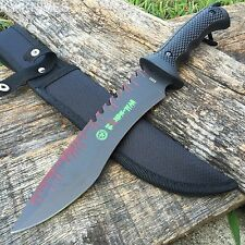 "13"" Zombie-War Full Tang Hunting Knife All Black Great Grip New 8263"