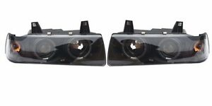 BMW E36 DUAL HALO Ring and PROJECTOR HEADLIGHT SET 3-SERIES 4DR SEDAN BLACK