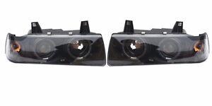 BMW E36 DUAL HALO Ring and PROJECTOR HEADLIGHT SET 3-SERIES 4DR SEDAN BLACK