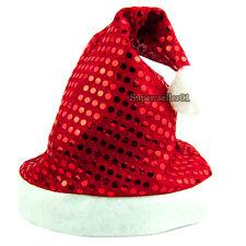 Fashion Adult Glisten Sequin Santa Father Cap Costume Hat Christmas Eve XMAS Hat