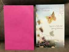 GRADUATION CONGRATULATIONS GRADUATE CARD FOR FEMALE Young Woman PINK