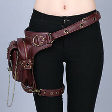Women's  Brown Leather Steampunk Mini Waistbag Motorcycle Leg Thigh Holster Bag