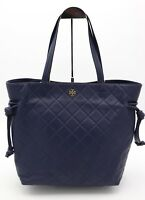 NWT Tory Burch Navy Blue Georgia Slouchy Leather Tote Shoulder Bag $498 New