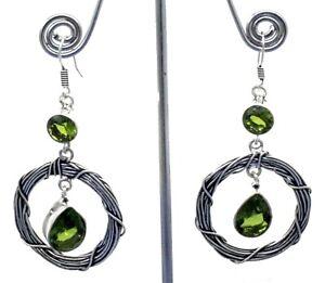 """925 Sterling Silver Green Peridot Gemstone Handmade Jewelry Earrings S-1.80"""""""