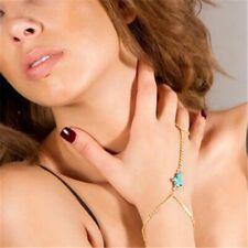 BEACH TURQUOISE CROSS BRACELET HAND CHAIN BANGLE FINGER RING BODY HARNESS WOMENS