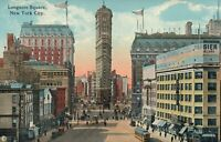 VINTAGE LONGACRE SQUARE NEW YORK CITY POSTCARD - UNUSED