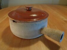 "Antique ""Vallauris"" Terra Cotta French pottery covered casserole w/ handle"